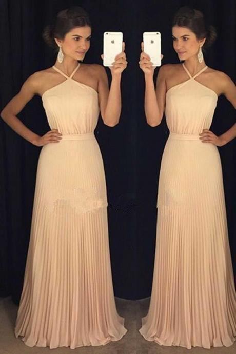 Ivory chiffon halter long evening dress,simple homecoming dresses